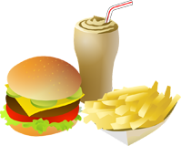 Obrazek - hamburger cheeseburger burger frytki cola zestaw cross-selling - getpaid20.pl