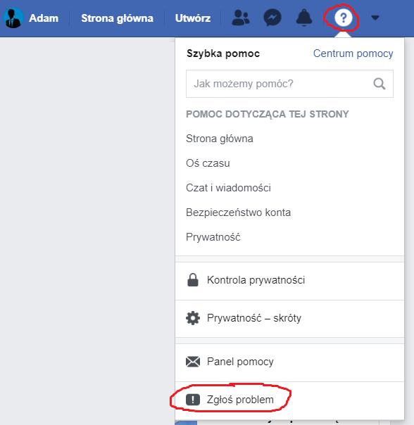 Obrazek - kontakt z fb złaszanie problemu - getpaid20.pl