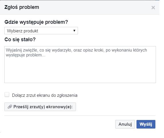 Obrazek - kontakt z facebookiem złaszanie problemu - getpaid20.pl
