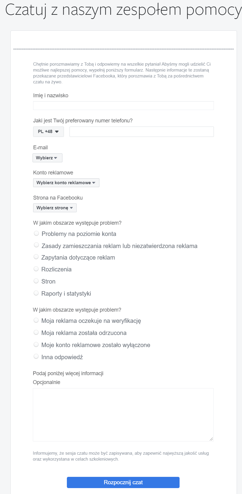 Obrazek - formularz kontaktowy z facebookiem dla reklamodawców poprzez live czat - getpaid20.pl