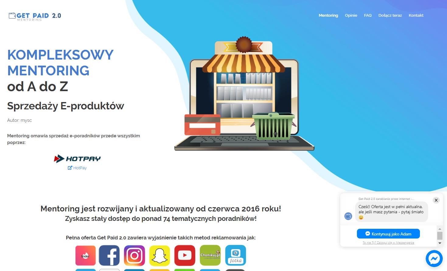 Obrazek - Landing Page przykład 3 - getpaid20.pl