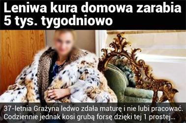 Obrazek - leniwa kura domowa zarabia przykład reklamy - getpaid20.pl